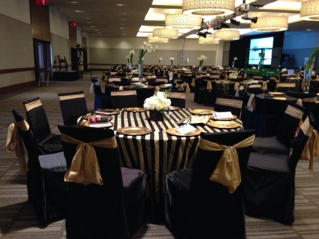 Black Gold Satin Stripe Table Linen Rental Tablecloth