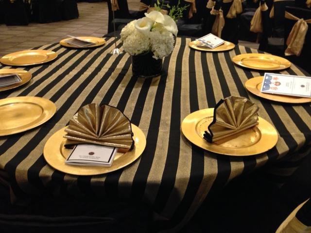 Black Amp Gold Satin Stripe Table Linen