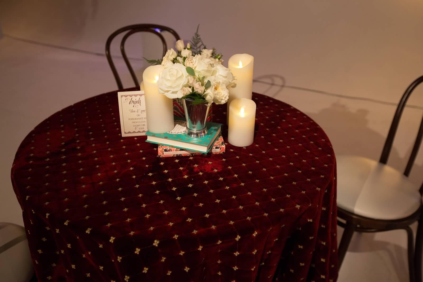 Burgundy Amp Gold Velvet Brocade Table Linen
