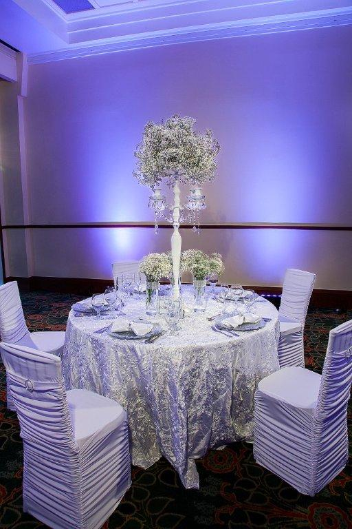 Icicle White Floret Rope Taffeta Linen Rental Tablecloth