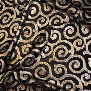 Black Gold Swirl Taffeta