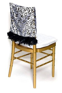 Black & White Burnout Velvet Chair Cap