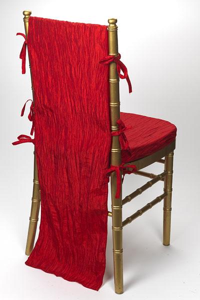Ruby Red Crinkle Taffeta Chair Back