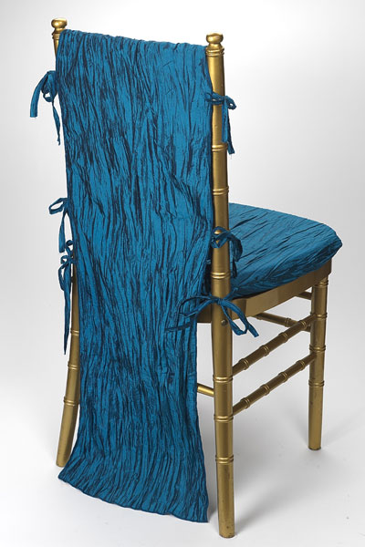 Teal Crinkle Taffeta Chair Back