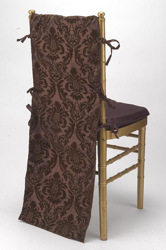 Coffee Flock Taffeta Chair Back