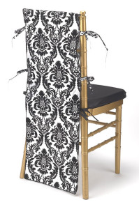 Black & White Flock Taffeta Chair Back