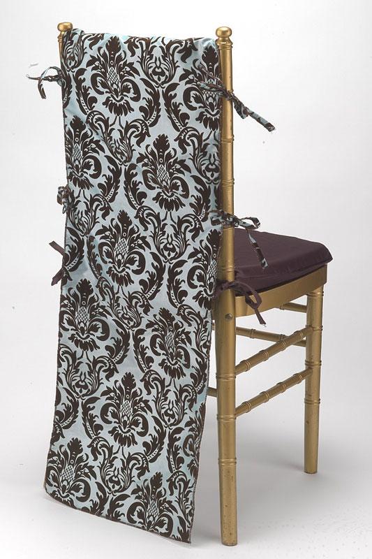 Cornflower Flock Taffeta Chair Back