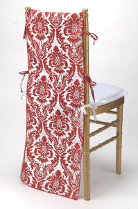Red & White Flock Taffeta Chair Back