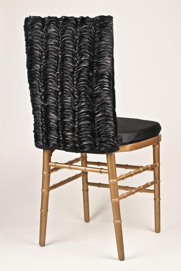 Black Ruffle Taffeta Chairback