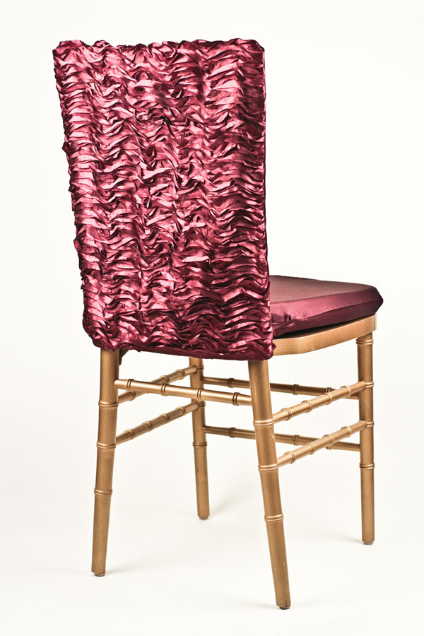 Cranberry Ruffle Taffeta Chair Back
