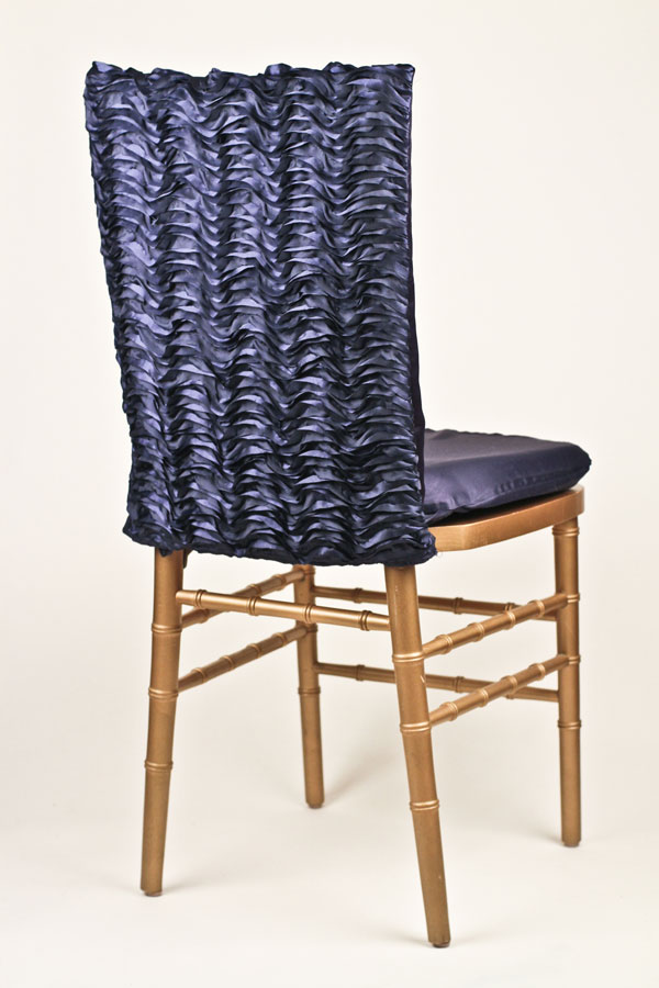 Navy Ruffle Taffeta Chair Back