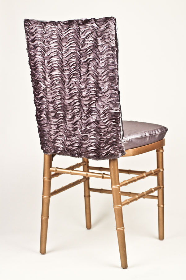 Pewter Ruffle Taffeta Chair Back