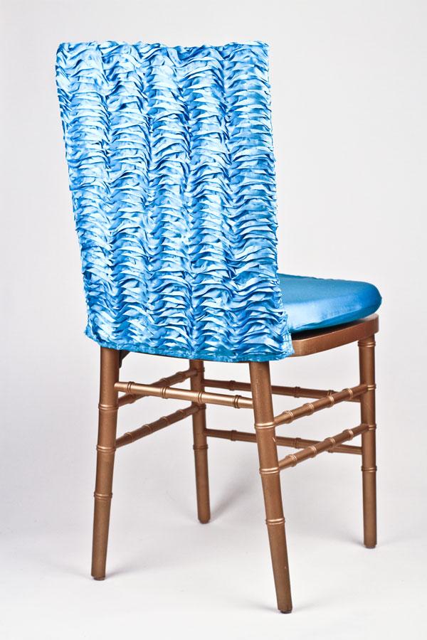 Turquoise Ruffle Taffeta Chair Back