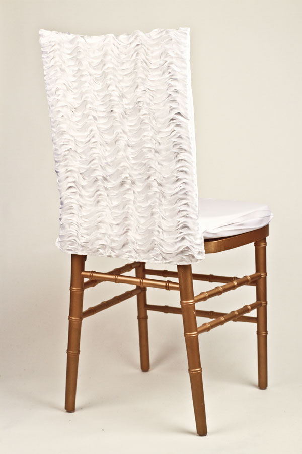White Ruffle Taffeta Chair Back