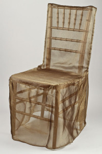 Antique Gold Organdy Chivari Chair Cover
