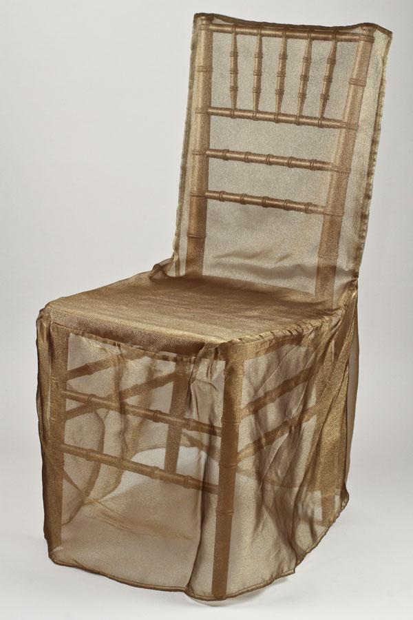 Antique Gold Organdy Chivari Chair Cover
