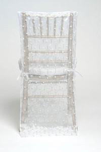 White Hexagon Pearl Silk Chair Back