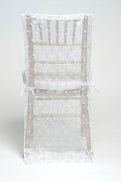 White Hexagon Pearl Silk Chair Back