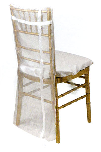 White Organdy with Ribbon Chair Back