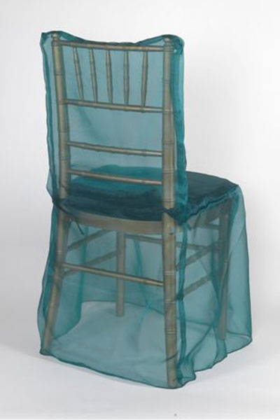 Turquoise Organdy Sheer Chair Cover