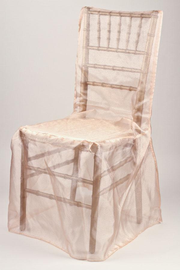 Peach Organdy Chivari Chair Cover