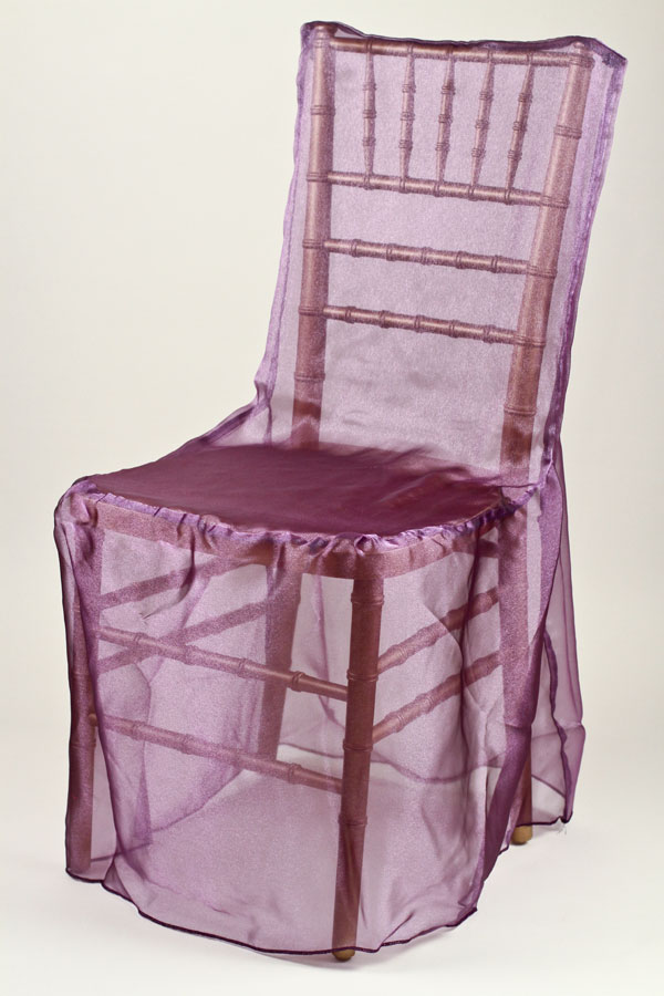 Purple Organdy Chivari Chair Cover