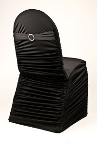 lack Stretch Rounded Ribbed Chivari Chair Cover