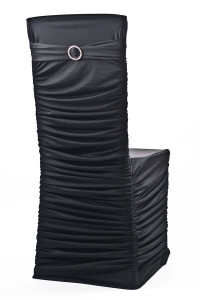 Black Stretch Ribbed Chivari Chair Cover
