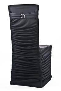 Black Stretch Ribbed Chivari Chair Cover