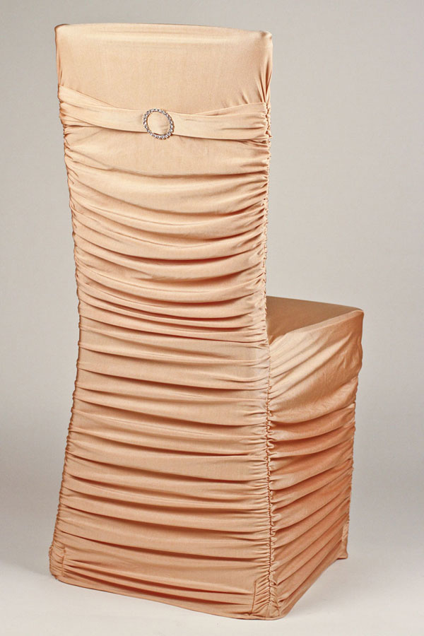 Pecan Stretch Ribbed Chivari Chair Cover