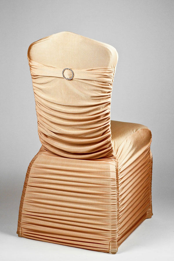 Pecan Stretch Rounded Ribbed Chivari Chair Cover