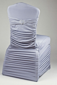 Pewter Stretch Rounded Ribbed Chivari Chair Cover