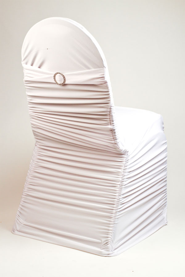 White Stretch Rounded Ribbed Chivari Chair Cover