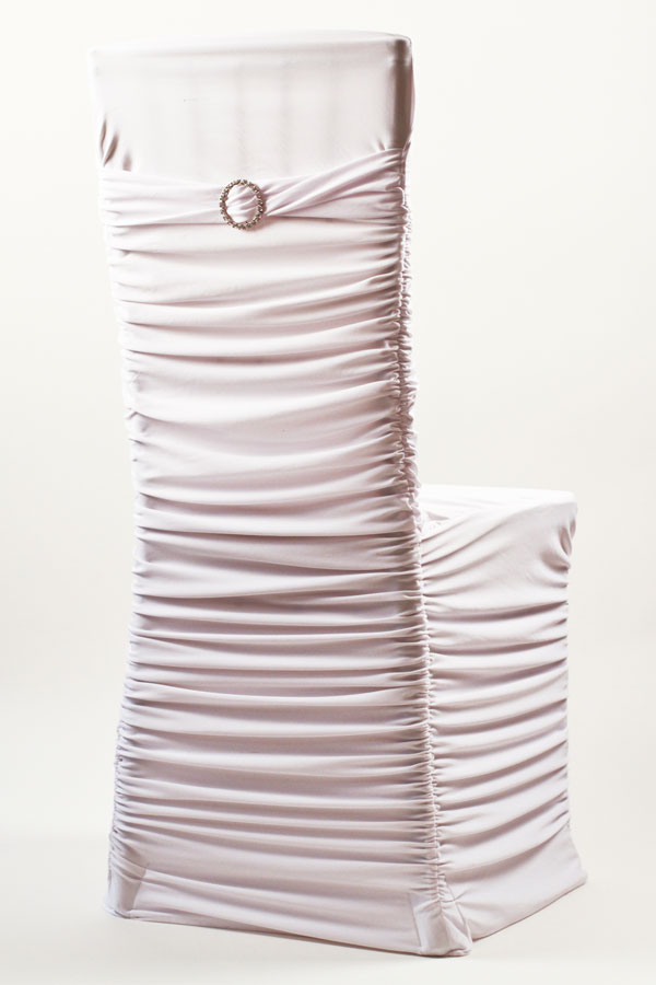 White Stretch Ribbed Chivari Chair Cover