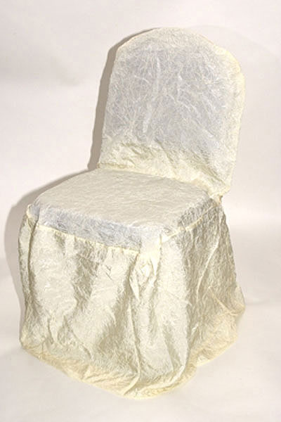 Ivory Crushed Taffeta Chair Cover