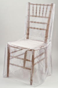 White Organdy Chivari Chair Cover