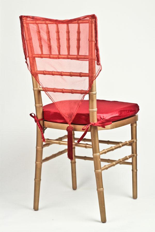 Burgundy Organza Chair Cap