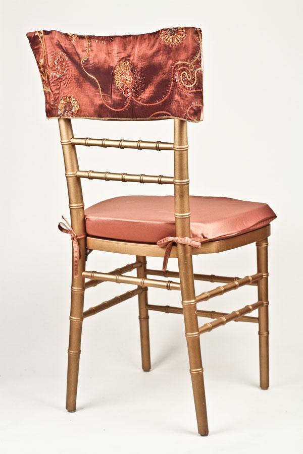 Burnt Sienna Floral Tinsel Chair Cap