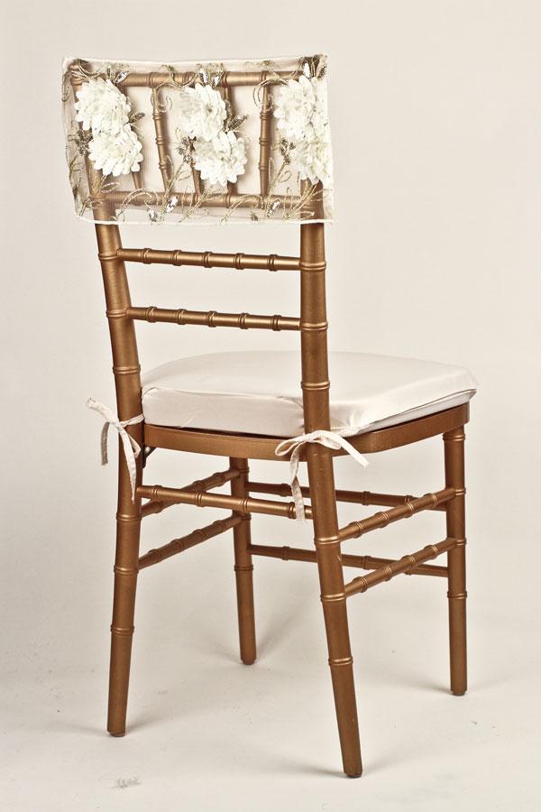 Ivory Gold Floral Bouquet Chair Cap