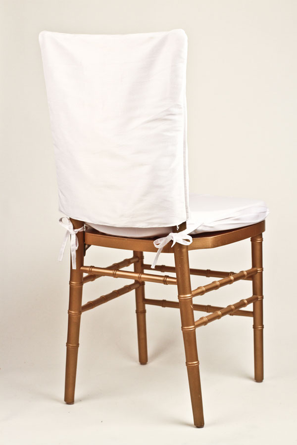 White Poly Dupioni Chair Cap
