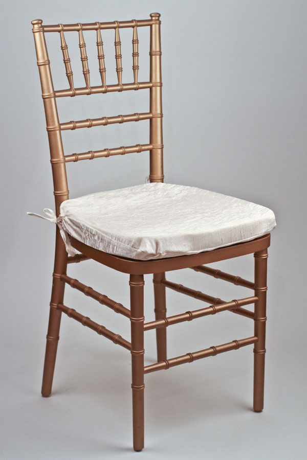 Ivory Crushed Shimmer Chair Pad Cover