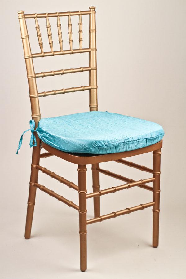 Aqua Marine Crinkle Taffeta Chair Pad Cover