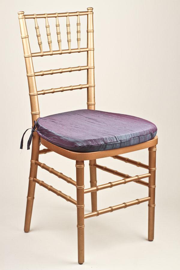 Aqua Violet Crinkle Taffeta Chair Pad Cover
