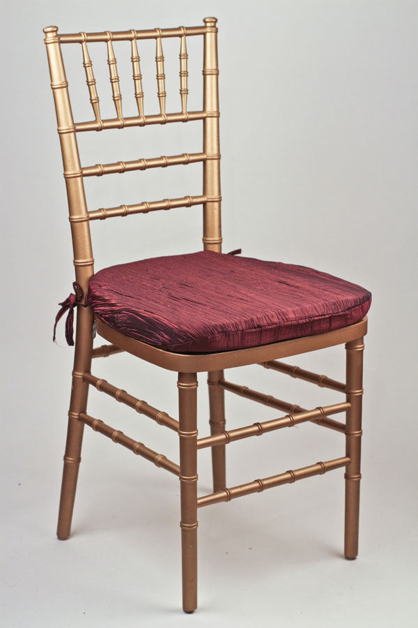 Cranberry Crinkle Taffeta Chair Pad Cover