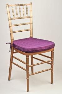 Plum Crinkle Taffeta Chair Pad Cover