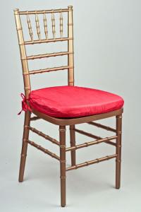 Red Crinkle Taffeta Chair Pad Cover