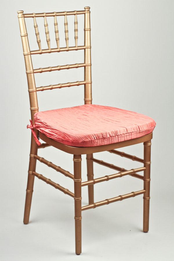 Salmon Crinkle Taffeta Chair Pad Cover