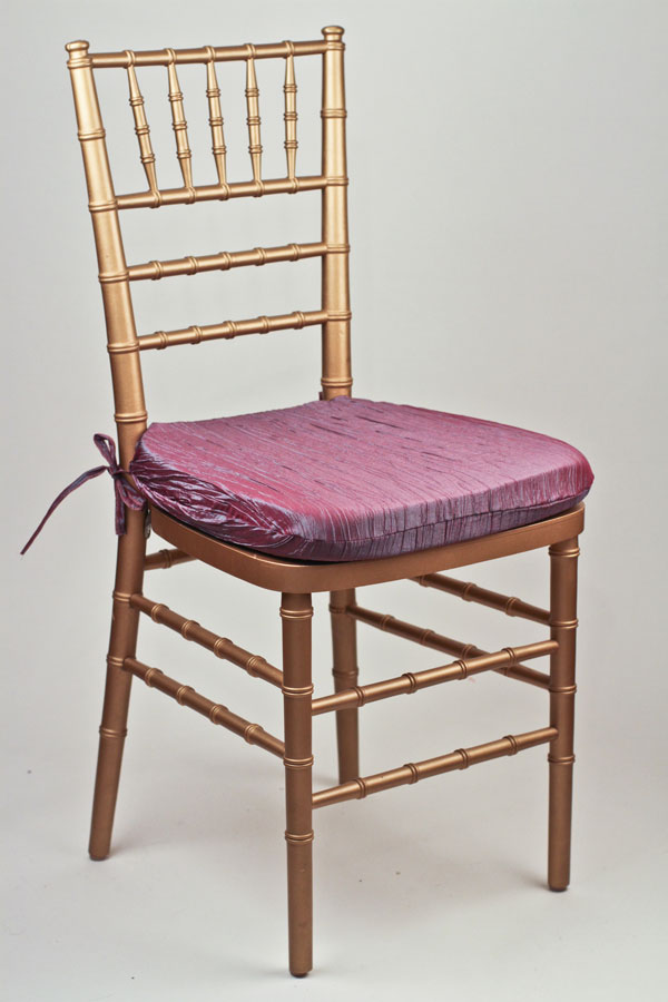Steel Passionberry Crinkle Taffeta Chair Pad Cover