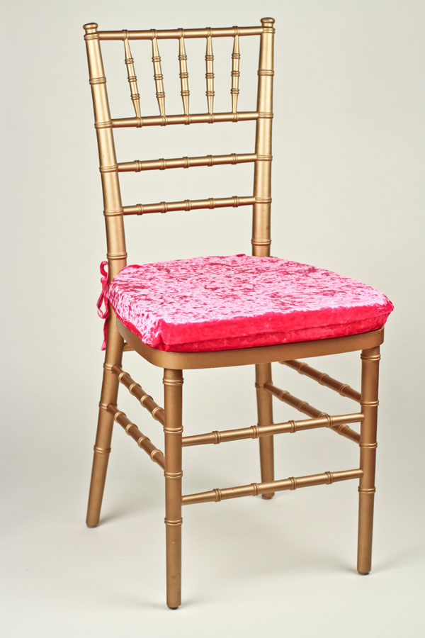 Hot Pink Velvet Chair Pad Cover