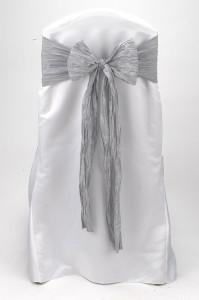Silver Crinkle Taffeta Tie